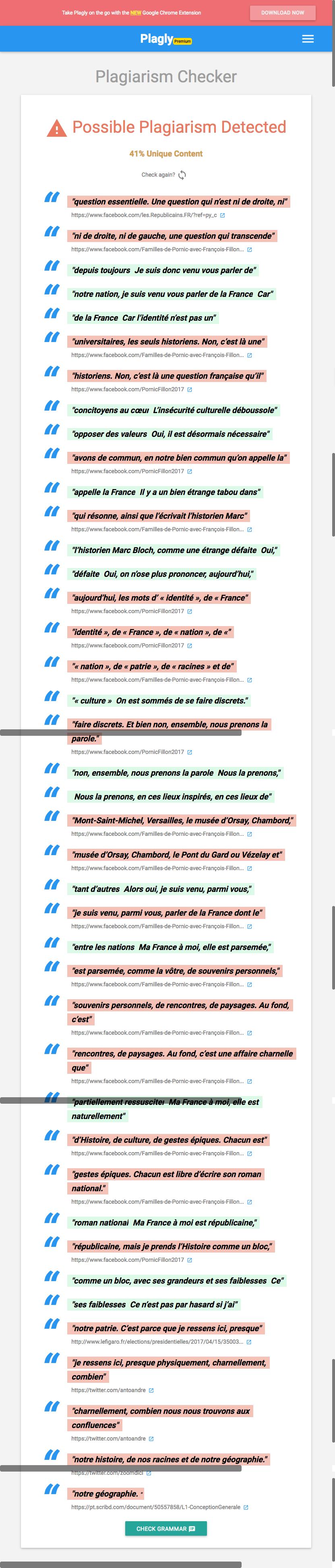 plagiarism speech by le pen
